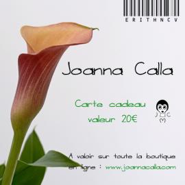 Carte cadeau, bon d'achat 20€, bijoux floraux, fait main, bijoux bohème, Joanna Calla