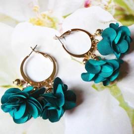 Bohemian creole hook earrings, Lorea, gold plated, green flower and tassels in cloth, Joanna Calla
