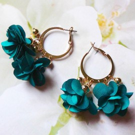 Boucles d'oreilles bohème créoles Lorea vert