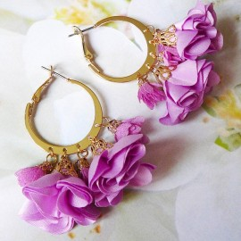Bohemian creole earrings, Lorea, gold plated, purple flower and tassels in cloth, Joanna Calla