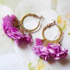 Boucles d'oreilles bohème créoles Lorea lilas