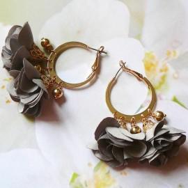 Bohemian hoop earrings grey Lorea