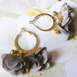 Bohemian creole hook earrings, Lorea, gold plated, grey flower and tassels in cloth, Joanna Calla