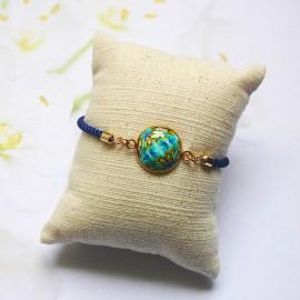 Bracelet cordon bleu mandala bleu