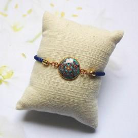 Bracelet cordon bleu mandala bleu noir