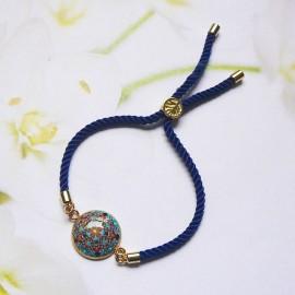 Bohemian woman bracelet, adjustable, on blue nylon cord, blue black mandala in polymer clay, handmade, Joanna Calla