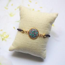 Bracelet cordon violet mandala vert violet
