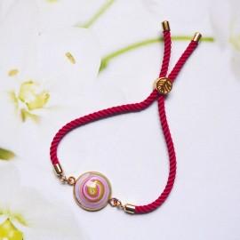 Bohemian woman bracelet, adjustable, on pink nylon cord, purple spiral in polymer clay, handmade, Joanna Calla