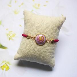 Bracelet cordon rose spirale mauve