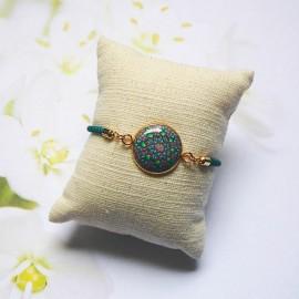 Bracelet cordon vert mandala vert rose