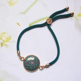 Bohemian woman bracelet, adjustable, on green nylon cord, green pink mandala in polymer clay, handmade, Joanna Calla