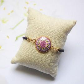 Bracelet cordon violet mandala mauve