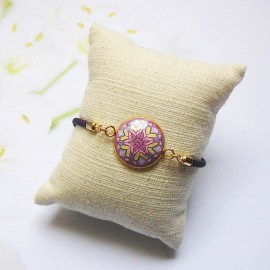 Purple cord bracelet purple mandala