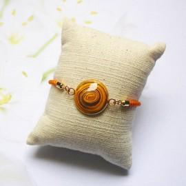 Bracelet cordon orange spirale jaune