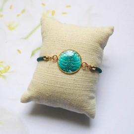 Bracelet cordon vert turquoise