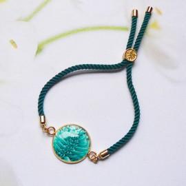 Bohemian woman bracelet, adjustable, on green nylon cord, turquoise pattern in polymer clay, handmade, Joanna Calla