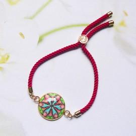 Bohemian woman bracelet, adjustable, on pink nylon cord, blue pink mandala in polymer clay, handmade, Joanna Calla