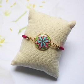 Bracelet cordon rose mandala bleu rose