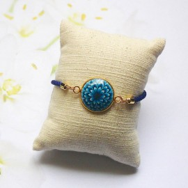 Bracelet cordon bleu dahlia bleue
