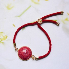 Bohemian woman bracelet, adjustable, on red nylon cord, red spiral in polymer clay, handmade, Joanna Calla