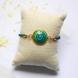 Green cord bracelet green spiral