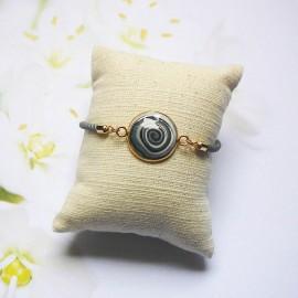 Grey cord bracelet black spiral