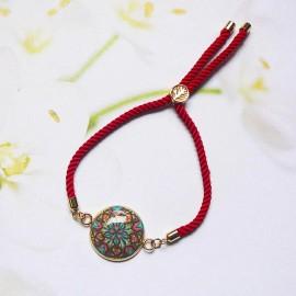 Bohemian woman bracelet, adjustable, on red nylon cord, blue red mandala in polymer clay, handmade, Joanna Calla