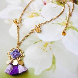 Collier bohème Thalie plaqué or 24K, mandala violet mauve en argile polymère, fait main Joanna Calla