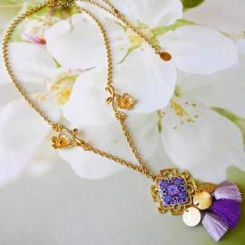 Bohemian necklace 24K gold plated Thalie purple mandala