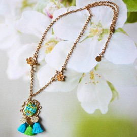 Bohemian necklace 24K gold plated Thalie blue mandala