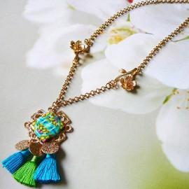 Bohemian necklace Thalie 24K gold plated, blue mandala in polymer clay handmade Joanna Calla