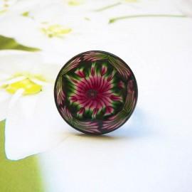 Bague bohème ronde, mandala rose noir en pâte polymère, fait main, pièce unique, Joanna Calla