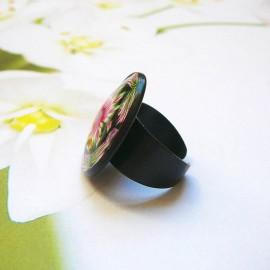 Bague bohème mandala rose noir