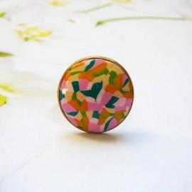 Bague bohème en acier inoxydable or, rose vert en pâte polymère, fait main, pièce unique, Joanna Calla