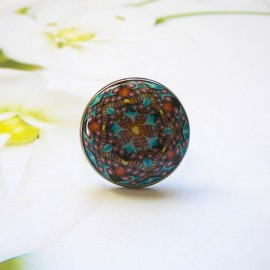 Bohemian ring, in silver-colored stainless steel, blue black mandala in polymer clay, handmade, unique piece, Joanna Calla