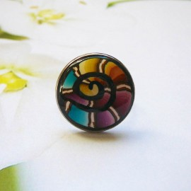 Bohemian ring, in silver-colored stainless steel, blue purple spiral in polymer clay, handmade, unique piece, Joanna Calla
