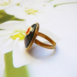 Bohemian round ring brown flowers