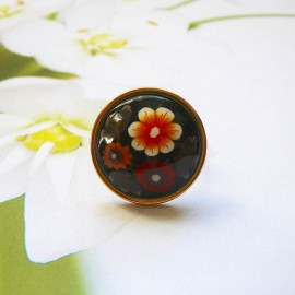 Bohemian ring, in gold plated stainless steel, green flowers in polymer clay, handmade, unique piece, Joanna Calla