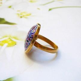 Bohemian round ring purple mandala