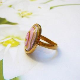 Bohemian round ring purple spiral