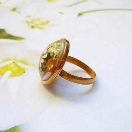Bohemian round ring green flowers