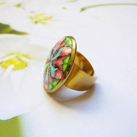 Bohemian round ring blue pink mandala