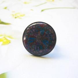 Bohemian round ring, purple blue mandala in polymer clay, handmade, unique piece, Joanna Calla