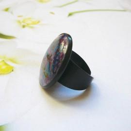 Bohemian ring purple blue mandala