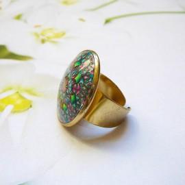 Bohemian round ring green pink mandala