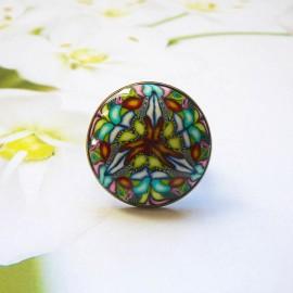 Round bohemian ring, blue green mandala in polymer clay, unique piece, handmade, Joanna Calla