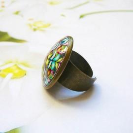 Bohemian round ring blue green mandala