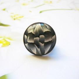 Bohemian round ring, black grey in polymer clay, handmade, unique piece, Joanna Calla