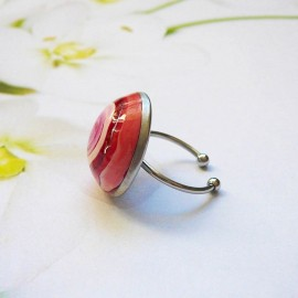 Bohemian round ring red spiral