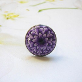 Bohemian ring, in silver-colored stainless steel, purple dahlia flower in polymer clay, handmade, unique piece, Joanna Calla
